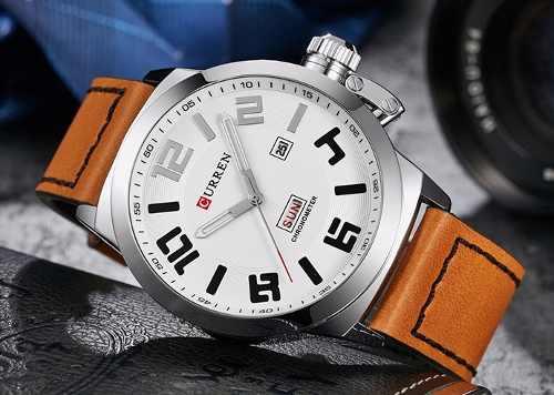 Relógio Curren 8270 Masculino Prata Marrom Pulseira De Couro