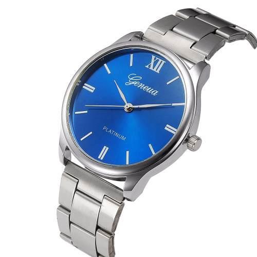 Relógio Masculino Feminino Geneva Fundo Azul Pronta Entrega