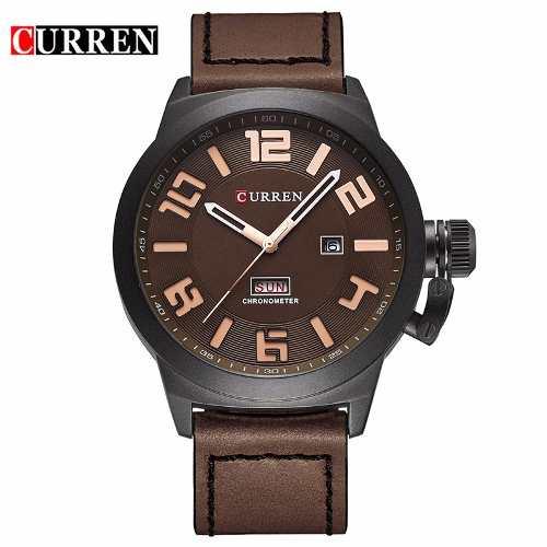Relógio Curren 8270 Masculino Black Café Pulseira De Couro