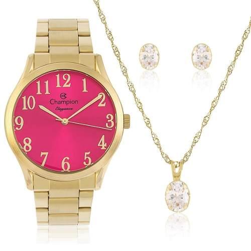 Relógio Champion Feminino Dourado - Cn26019j +colar E Brinco