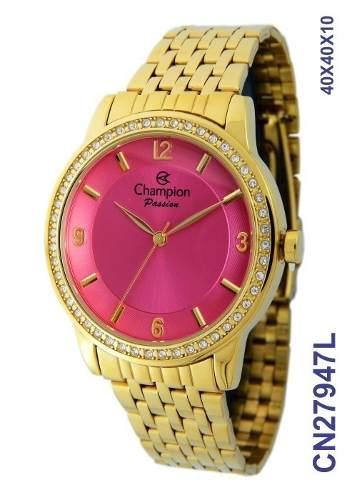 Kit Relógio Cn27947j Champion Dourado Feminino + Conjunto