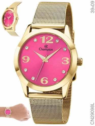 Kit Relógio Feminino Champion Dourado Cn29098j + Conjunto