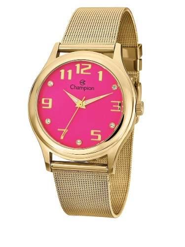 Relógio Champion Feminino Dourado Cn29007l Pronta Entrega