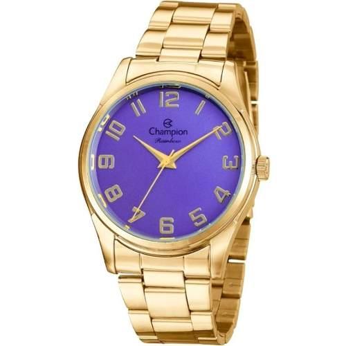 Relógio Champion Feminino Dourado Rainbow Cn29884d