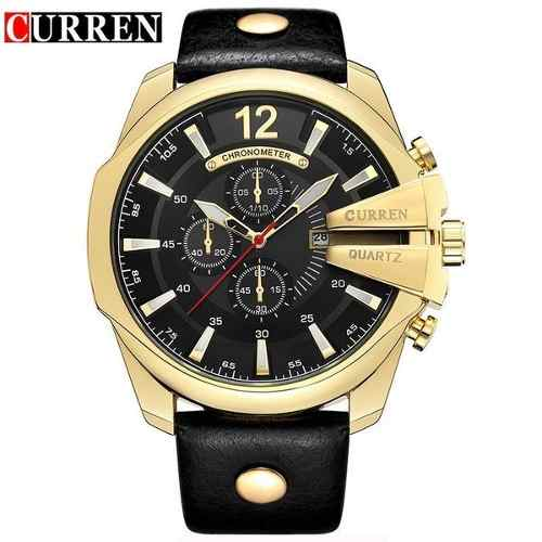 Relógio Curren Masculino 8176 Dourado Preto Couro