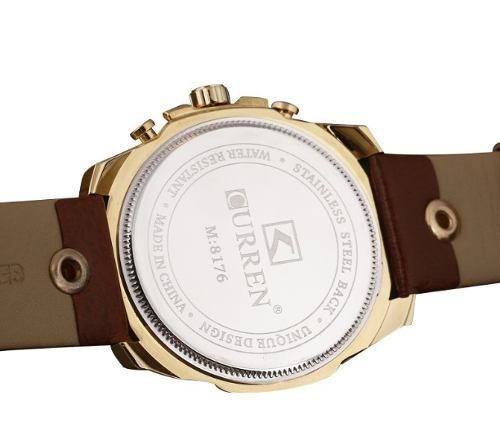 Relógio Curren Masculino 8176 Dourado Marrom Couro