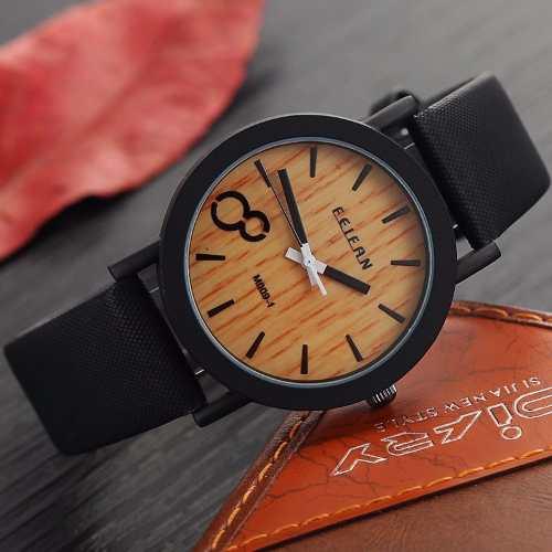Relógio Feifan Madeira Pulseira De Couro Preto - M009