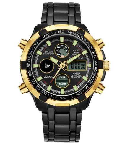 Relógio Dourado Preto Masculino Amuda Luxo - Modelo 2002