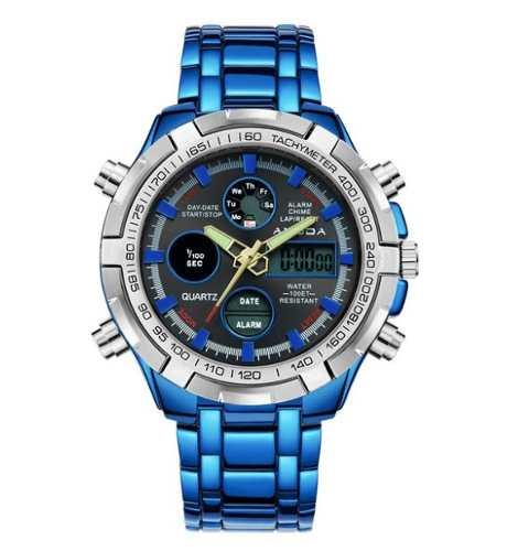 Relógio Masculino Amuda Luxo - Modelo 2002 Azul