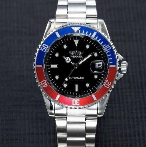 Relógio Masculino Winner Automatic Submariner Prata