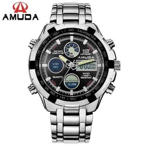 Relógio Masculino Grande Prata Amuda Luxo - Modelo 2002