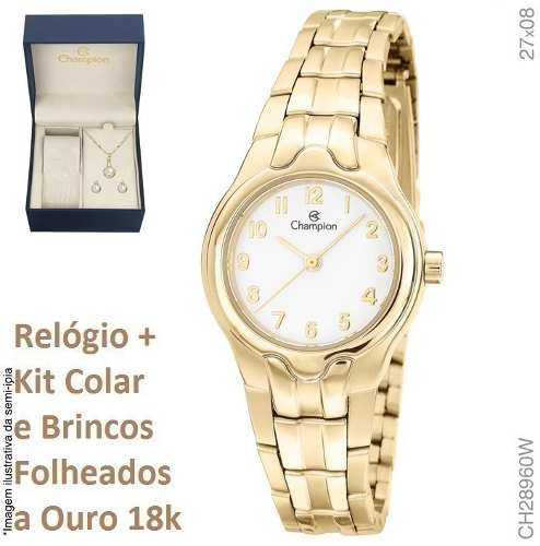 Relógio De Luxo Feminino Champion Original Pequeno Ch28960w