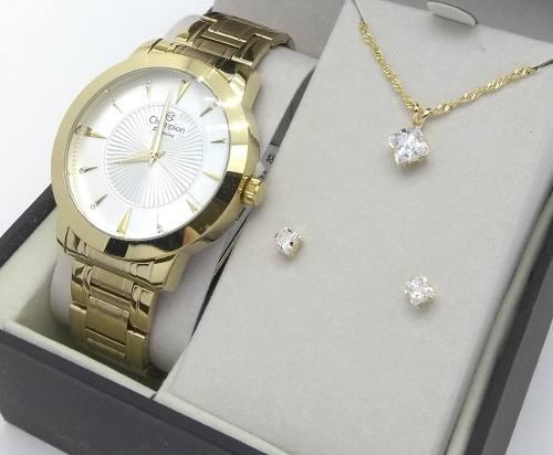 Relógio Champion Cn29258c Feminino Dourado + Kit Jóia Brinde