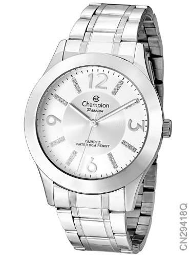 Relógio Champion Feminino Prateado Cn29418q + Nf