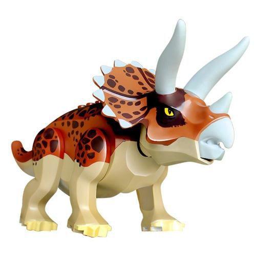 Bloco de Montar Compatível Lego Dinossauros Jurassic World Velociraptor Triceratóps