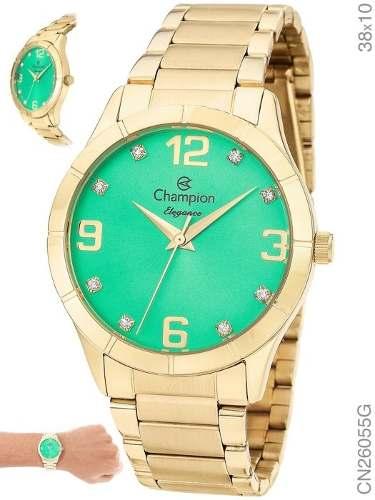 Relógio Feminino Analógico Champion Verde Dourado Cn26055g