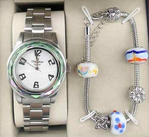 Relógio Aço Champion Visor Branco Furta Cor Cn29990y-brinde
