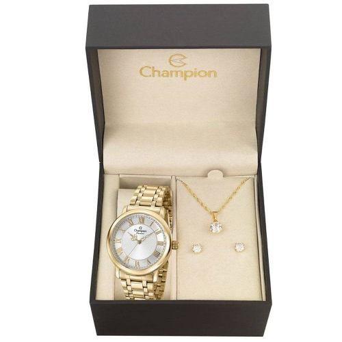 Relógio Champion Kit Feminino Aço Brinde Semijóia Cn29936w
