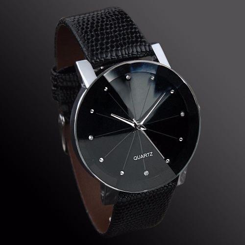 Relógio Casual Masculino Pulseira De Couro Preta Quartz