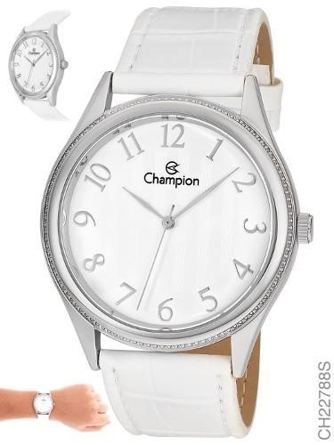Relógio Champion Feminino Grande Pulseira Branca Ch22788s