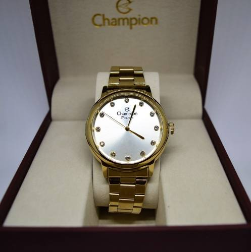 Relogio Champion Feminino Dourado Cn29874h Original