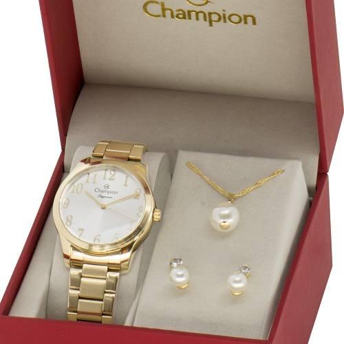 Kit Relógio Champion Feminino Com Colar E Brincos Cn26019w
