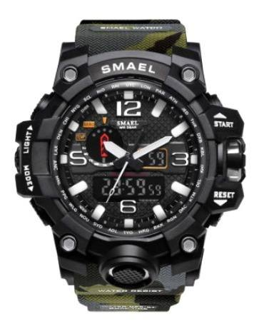 Relógio Masculino Militar Gshóck Smael 1545 Verde Exército