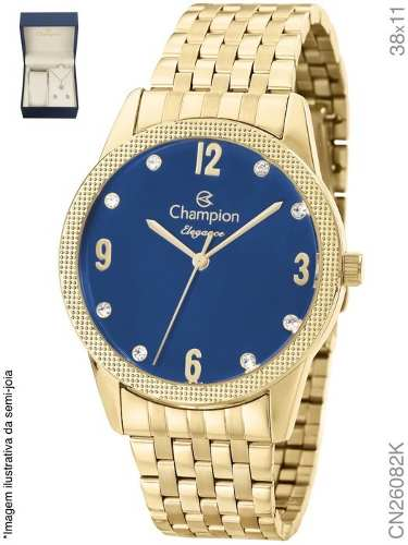 Relógio Champion Feminino Cn26082k + Colar E Brincos