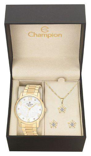 Relógio Champion Feminino Dourado Estampa Original Cn26224w