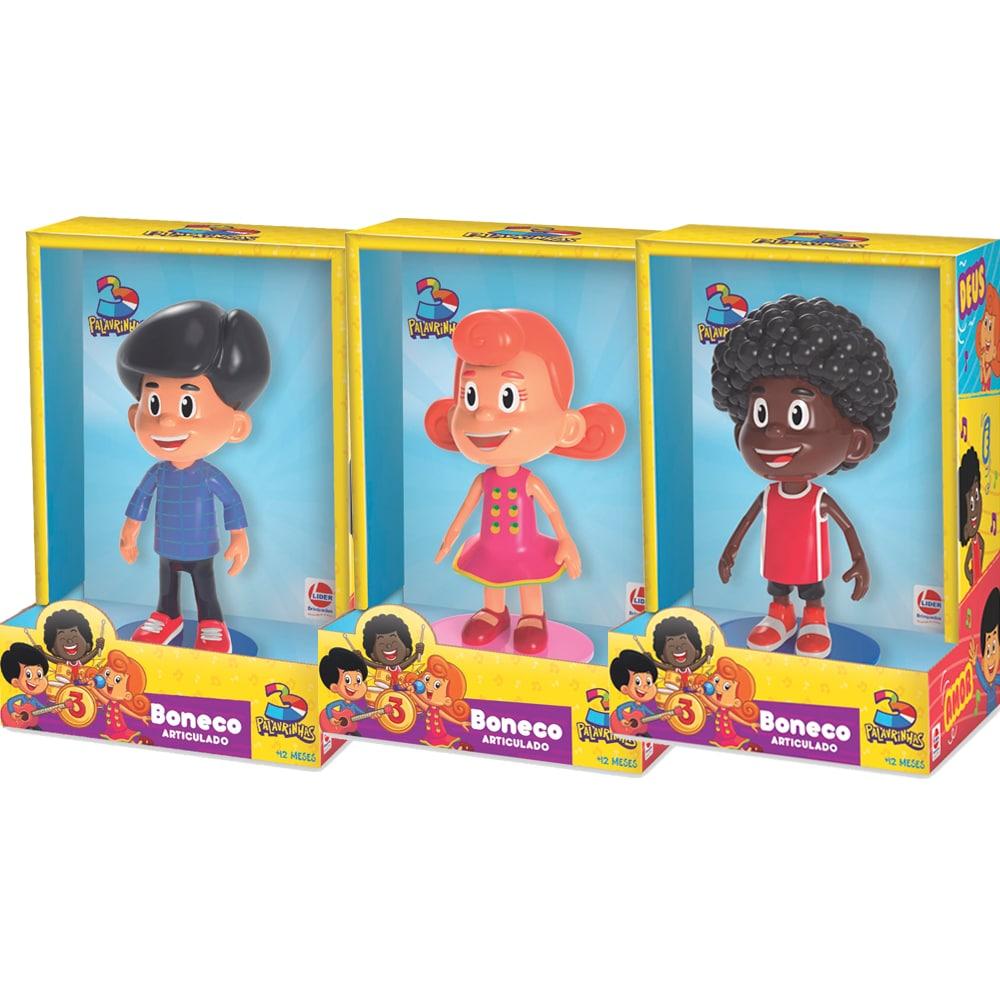 3 Palavrinhas - Kit 3 Bonecos Miguel, Sarah E Davi - Lider