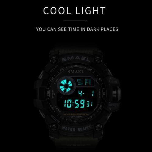 Relógio Masculino Esportivo Militar Shock Smael 8010 ArmyGreen