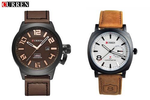Kit Relógio Curren 8139 Couro + Relógio Curren 8270 Café Couro
