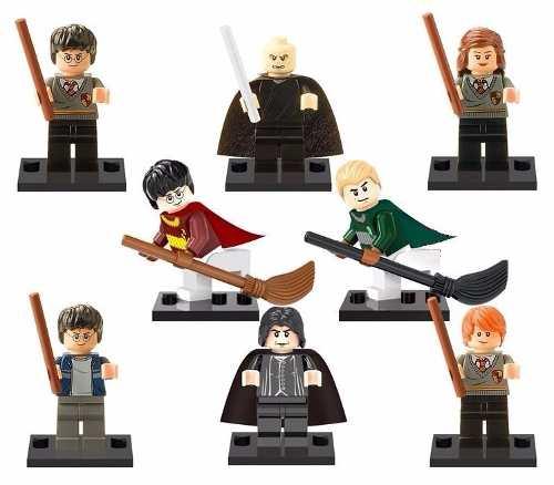 Kit 8 Minifigures Harry Potter Lego - Hermione, Voldemort, Ron Weasley Pronta Entrega