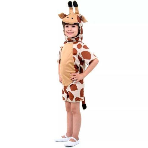 Fantasia De Girafa Verão Curta Com Gorro Animais P Ao Gg