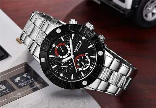 Relógio Masculino Curren 8006 Aço Inox Luxo Premium