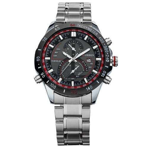 Relógio Importado Masculino Luxo Curren 8149 Aço Fundo Preto