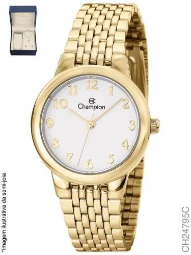 Relógio Champion Feminino Dourado Ch24795c + Kit Semijoias