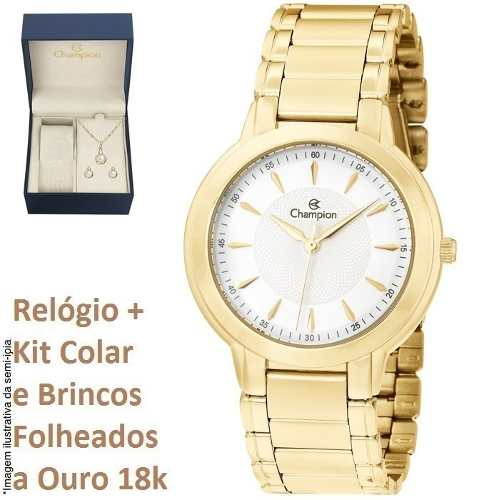 Relógio Champion Feminino Pequeno Cn20391w Kit Brinde + Nf