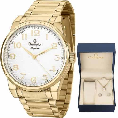 Kit Relógio Champion Feminino Dourado Cn25010w + Semijoias