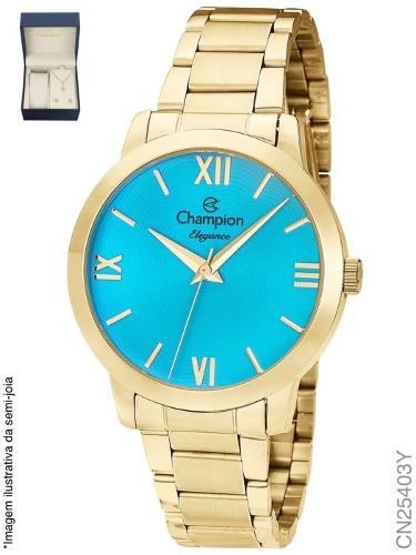 Relógio Champion Feminino Dourado Cn25403y Kit Colar Brincos