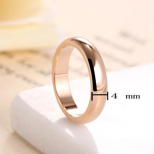 Par Aliança 4mm Banhada Ouro Rose Casamento Noivado