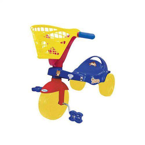 Triciclo Infantil Com Cesta E Adesivos Zoo Xalingo