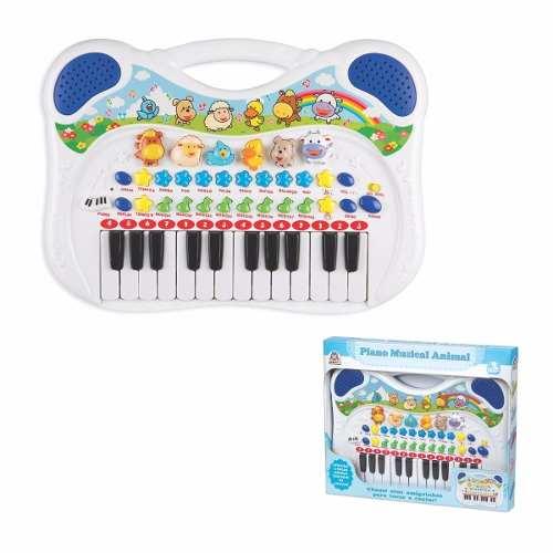 Piano Teclado Musical Animal Fazendinha - Azul - Braskit
