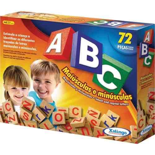 Brinquedo Pedagogico Madeira Abc Alfabeto Letras 72 Peças
