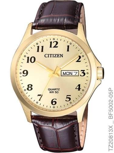 Relógio Masculino Citizen Tz20813x Dourado Pulseira Couro