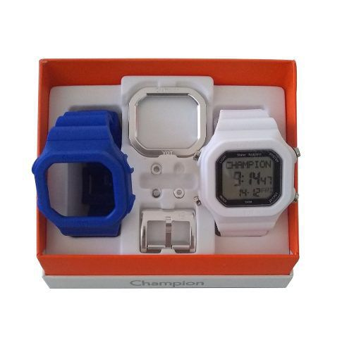 Relógio Champion Yot Original Cp40180x Branco Azul