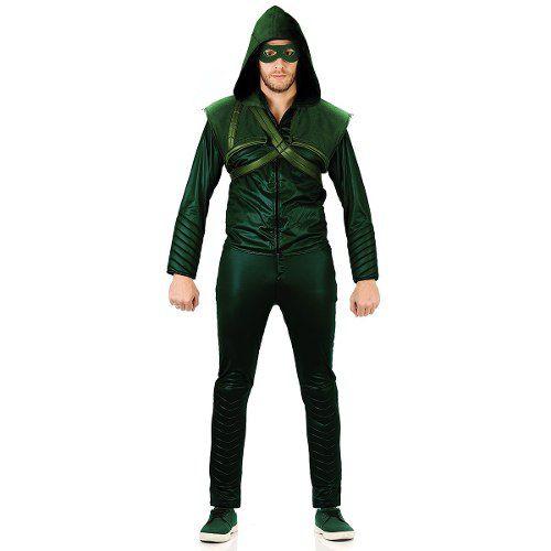 Fantasia Arrow / Arqueiro Verde Adulto Original Casaco/calça