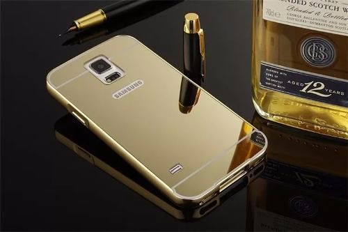 Capa Capinha Bumper Aluminio Espelhada Galaxy S5 I9600 G900m Dourado