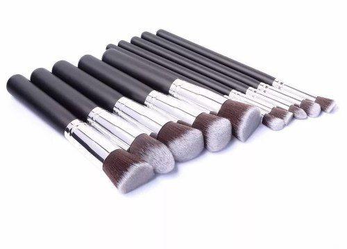Kit 10 Pincéis Kabuki Pincel Profissional Top Cor Silver