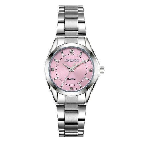 Relógio Masculino Quartzo Chenxi Fundo Rosa Aço Inoxidável